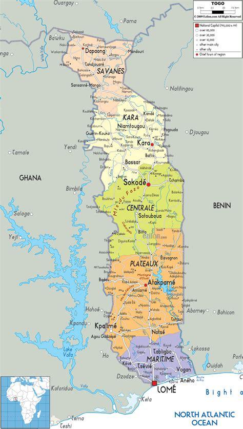 political map of togo political map of togo ezilon maps