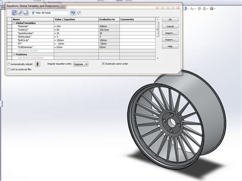 solidworks tutorial rim tutorial how to model a variable driven car rim
