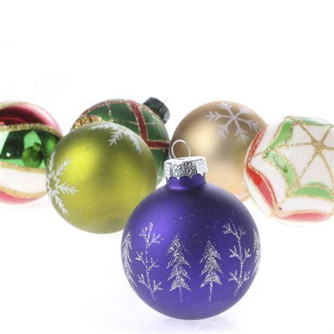 vintage hand decorated glass ball ornament set christmas