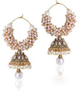 ear rings pic shining white beaded jhumki style earrings for rs 597