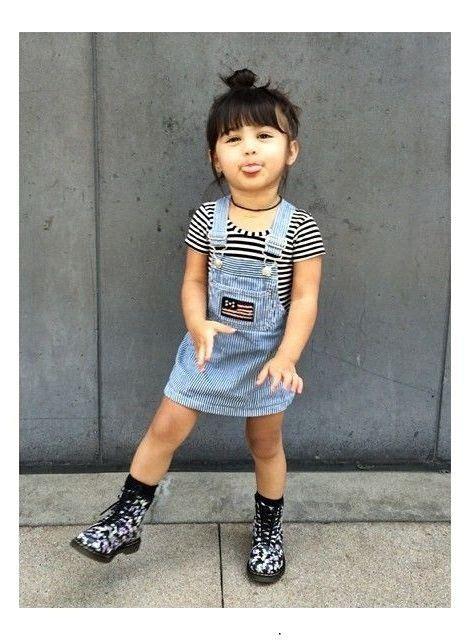 Overall Stripe Black fashion denim overalls dress black and