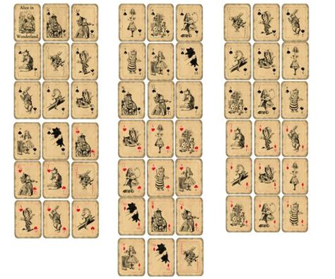 printable playing cards sheets 17 best images about alice printables on pinterest