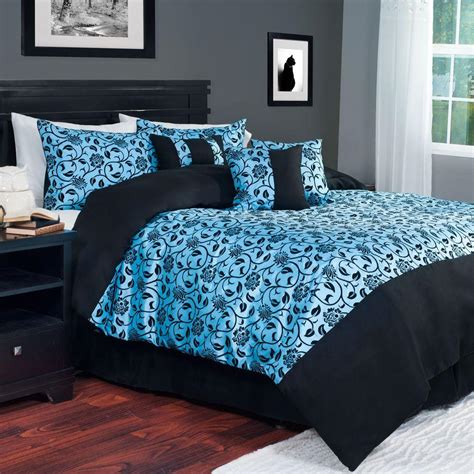 blue victoria damask 7 piece queen comforter set 66 11 q