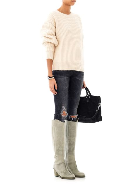 acne pistol boots lyst acne studios pistol knee high boots in gray