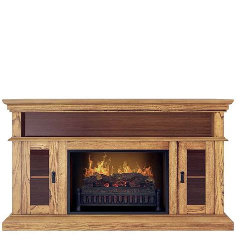 Realistic Fireplace by Demeter Oak Media Center Electric Fireplace Wall Mantel