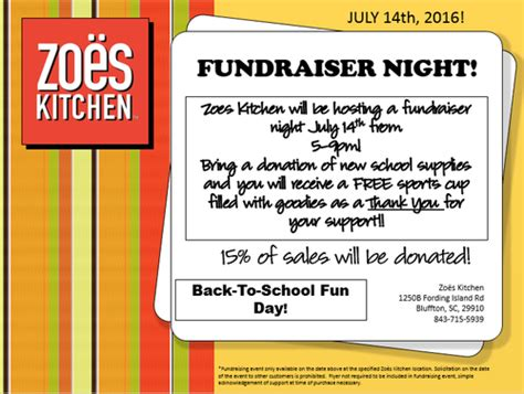Zoes Kitchen Bluffton by Back To School Day For A Fundraiser At Zoes