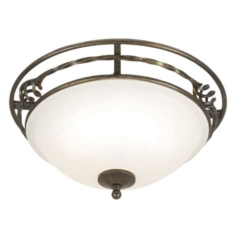 circular flush fitting ceiling light black gold surround