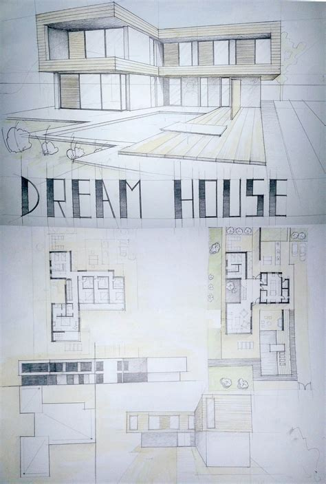 modern house drawing perspective floor plans design
