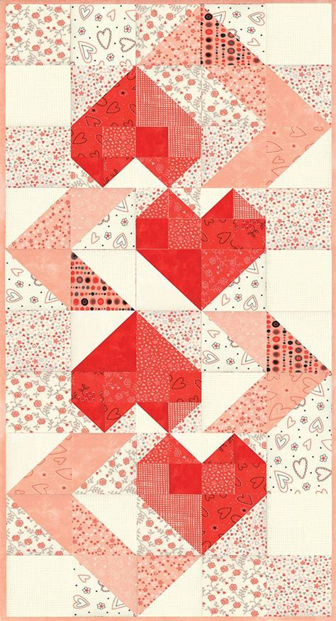 hearts intertwined table runner pattern  sandy gervais hearts valentine quilts pinterest