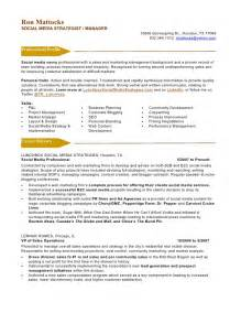 Social Media Resume Sles social media marketing resume