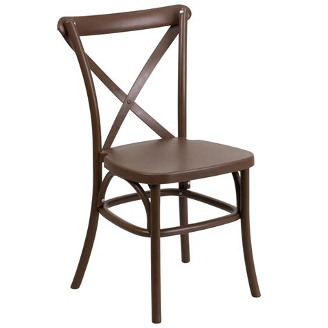 Resin Bistro Style Cross Back Chair, Event Stacking