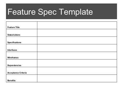 software feature specification template practical product management for new product managers