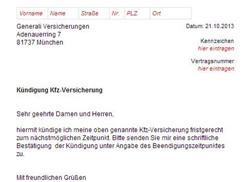 Ika Musterbrief Generali Kfz Versicherung K 252 Ndigung Vorlage Chip