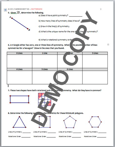 Geometry G Rotations Worksheet 1 by Geometry G Rotations Worksheet 1 Answers Math 8