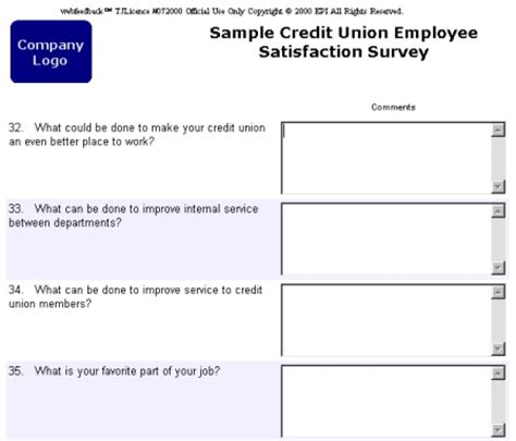 Webfeedback Sle Business And Credit Union Surveys Open Ended Survey Template