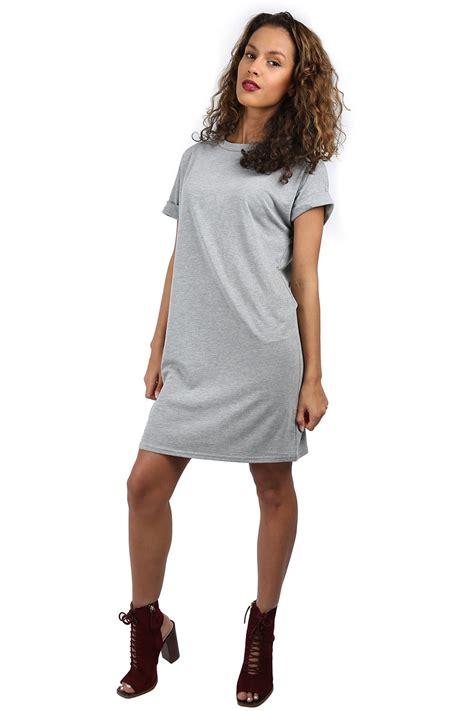 29828 Oversize Plain Dress plain stretchy turn up sleeve baggy oversized