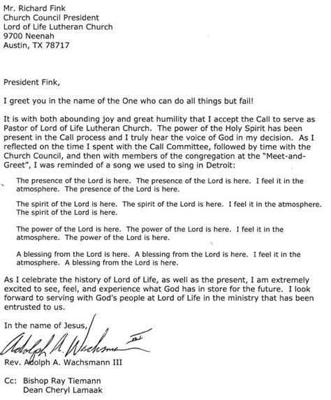 Acceptance Letter For Church Position news blast 6 27 2013 lord of lutheran church