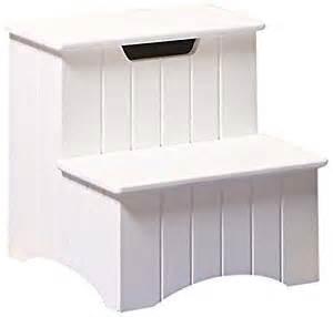 brand large white finish wood bedroom step stool