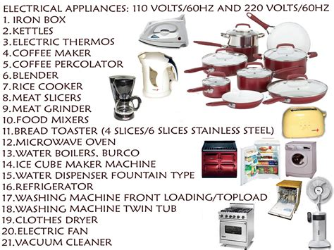 electrical kitchen appliances list services seas
