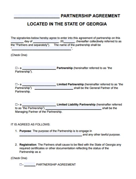 Free Georgia Partnership Agreement Template Lp Llp Lllp Llp Partnership Agreement Template