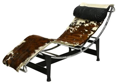 cowhide chaise lounge signed le corbusier chaise lounge lc4 cowhide