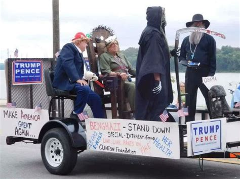 Parade Float Featuring Hillary In Electric Chair Shocks Indiana Parade Float Depicts Obama In Toilet And Words
