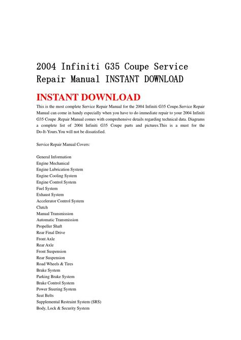 service manual 2004 infiniti g manual down load infinity coupe g35 2007 service manuals car 2004 infiniti g35 coupe service repair manual instant download by jjshnfse issuu