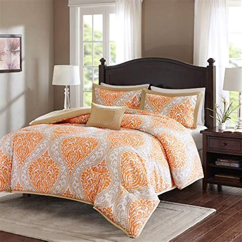 Comfort Spaces Kashmir Comforter Set Comfort Spaces Coco Comforter Set 3 Orange And Taupe Printed Damask Pattern
