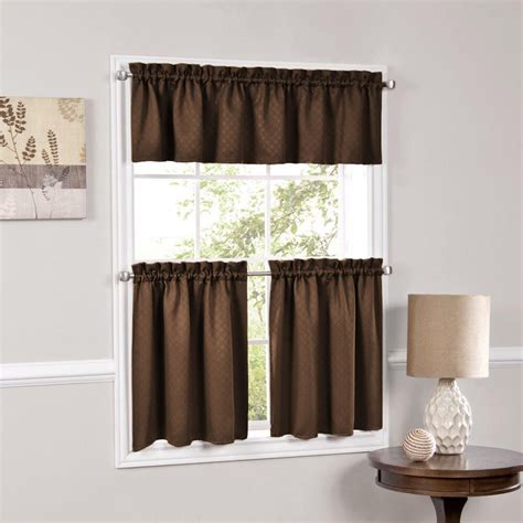room valances facets brown room darkening blackout insulated kitchen curtains tiers valances ebay