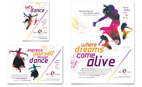 templates for dance flyers dance studio flyer ad template design
