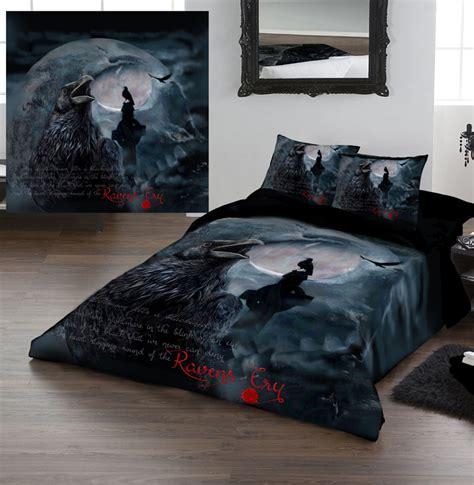 ravens cry duvet covers set  kingsize bed artwork