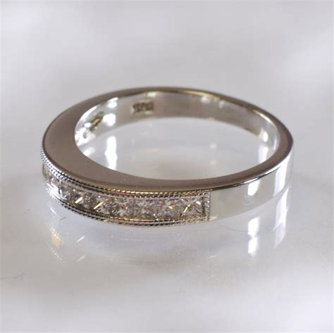 channel set wedding ring with beaded edge
