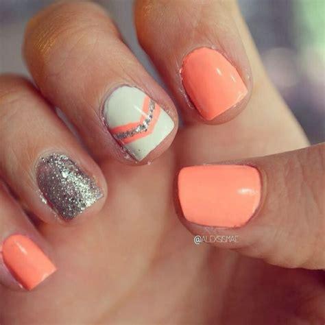 orange silver nails nails pinterest neon spring