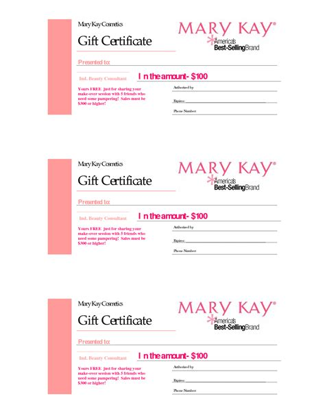 printable gift certificate pdf gift certificates mary kay gift certificate mary kay