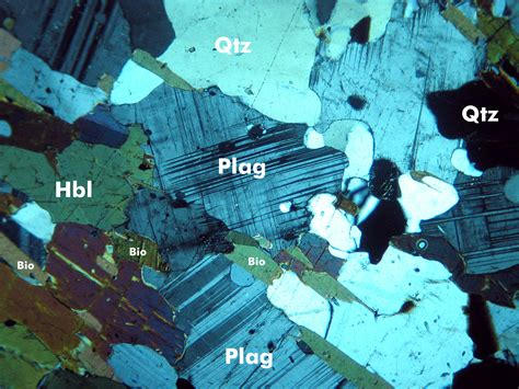 plagioclase feldspar thin section plagioclase hornblende quartz and biotite in a gneiss