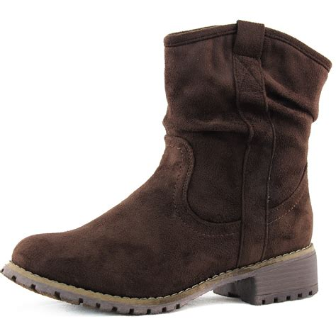 brown ankle boots fashion combat slouch low heel