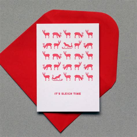 Card Press Original it s sleigh time letterpress cards by wolf