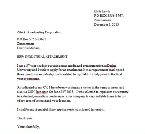 Cover Letter Format With Attachments Sle Industrial Attachment Letter And How To Write An