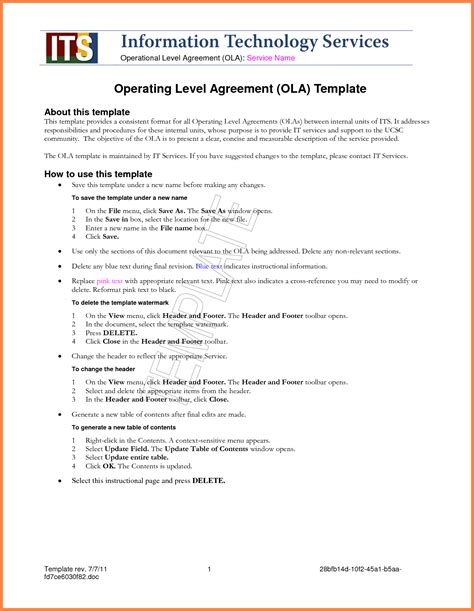 itil service level agreement template 4 standard service level agreement template purchase