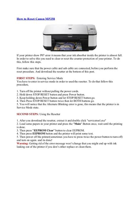 reset printer mp258 error p07 how to reset canon mp258