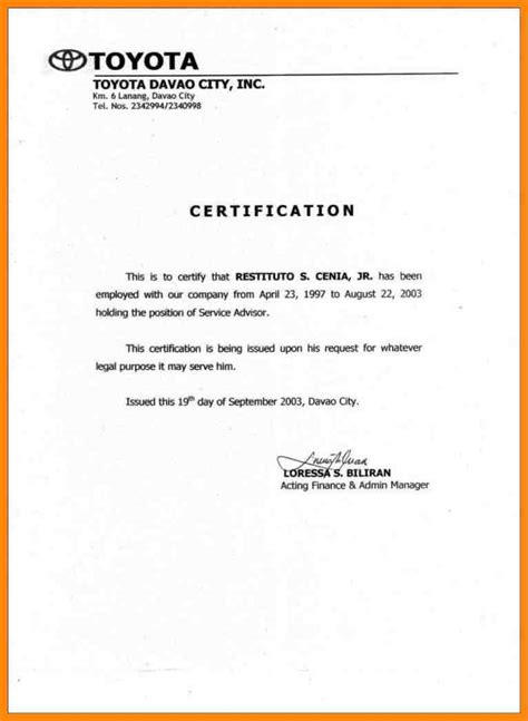 certification letter template word 11 sle certificate of employment resumed