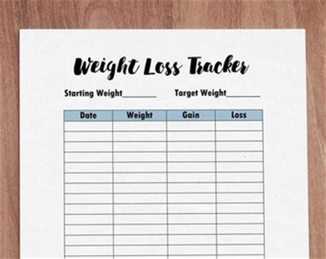 printable weight journal weight loss journal etsy