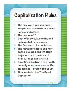 capitalization rules poster freeology