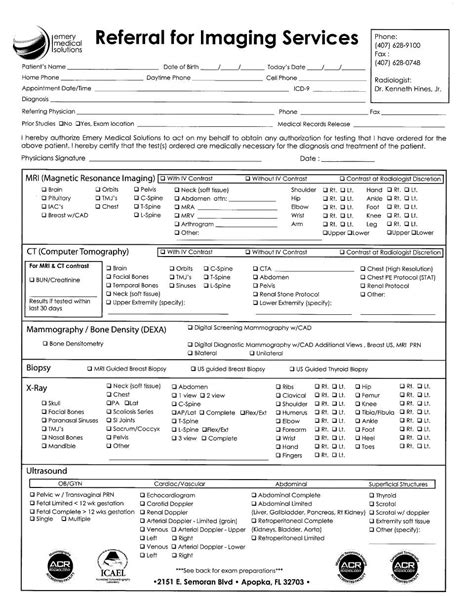 Orlando Medical Imaging Services Patient Form Emery Medical Radiology Order Form Template