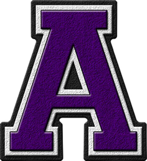 With The Letter A presentation alphabets purple varsity letter a