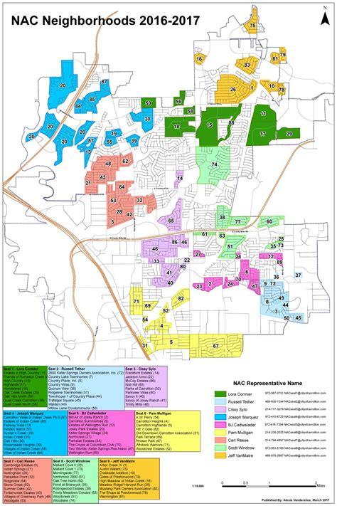City Of Carrollton Warrant Search Neighborhood Map With Nac Assignments City Of Carrollton Tx