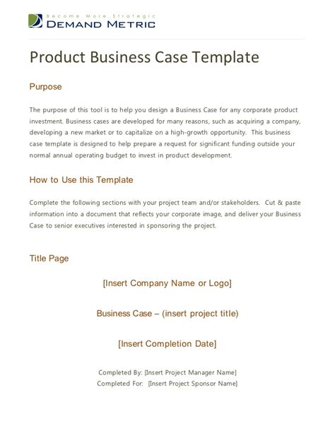 product business case template