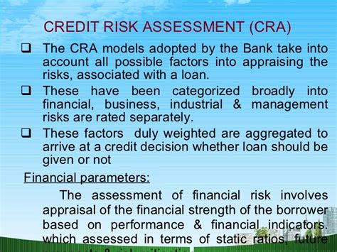 Credit Risk Analysis Formula Credit Appraisal In Banking Sbi