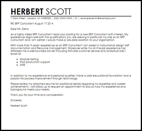 Erp Tester Cover Letter by Erp Consultant Cover Letter Sle Livecareer