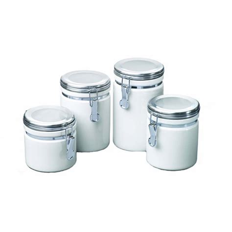 walmart kitchen canister sets anchor hocking 4 ceramic cl top canister set white walmart